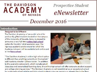 Davidson Academy eNewsletter