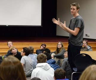 A Davidson Academy student presenting in the classroom