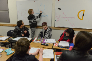Davidson Academy students interacting in the classroom