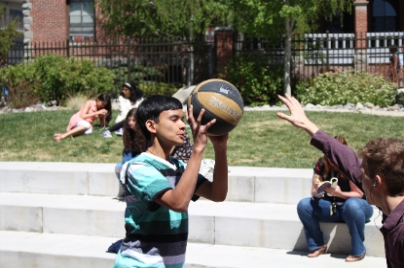 Profoundly gifted students playing basketball