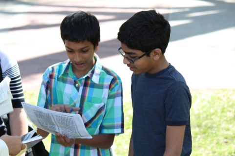 Students interacting outside
