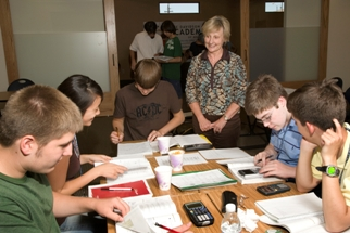 Jan Davidson with a group of gifted students