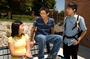 profoundly gifted students having a conversation outside