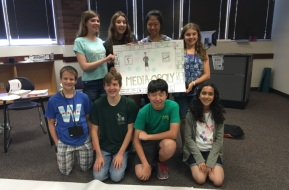 Gifted students displaying a poster in the classroom